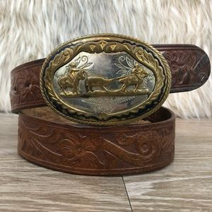 Western tooled leather belt silver gold buckle